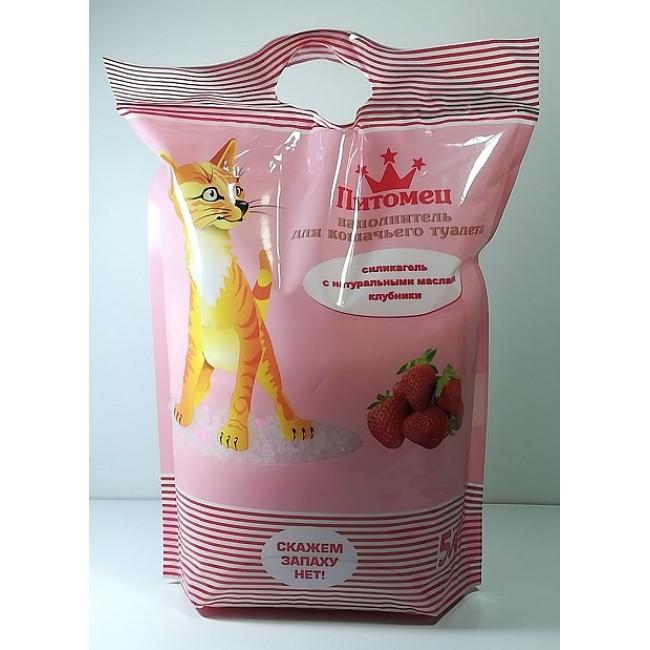 Наполнитель с запахом клубники для кошачьего туалета Питомец 5 литр
